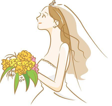 Image illustration of the bride in a wedding dress (landscape) Stock Illustratie