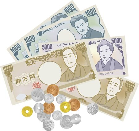 Image illustrations of Japanese banknotes and coins placed in a messy way (10000 yen, 5000 yen, 1000 yen)
