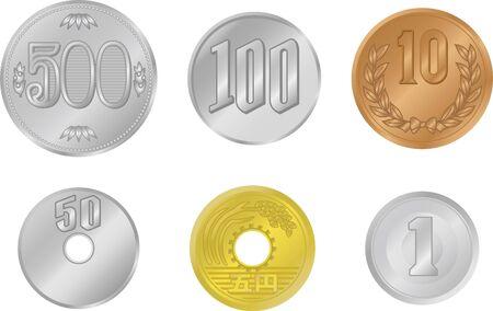 Japanese coin illustrations lined up in a mess (1 yen, 5 yen, 10 yen, 50 yen, 100 yen, 500 yen)