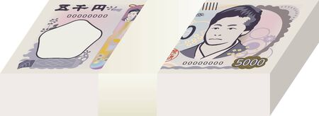 Image illustration of new Japanese banknotes bundled (5000 yen) 向量圖像