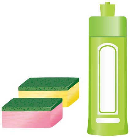 Image illustration of dishwashing detergent and sponge Illustration