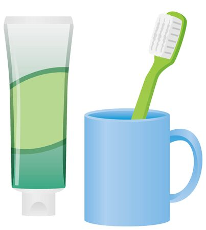 Image illustration of toothpaste, toothbrush and cup