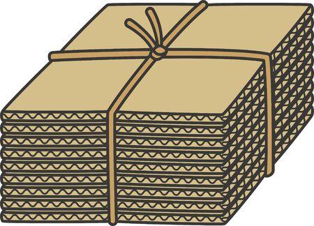 Resource waste. Image illustration of cardboard Çizim