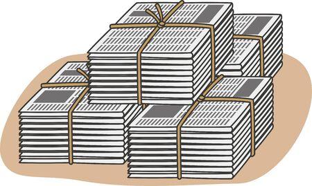 Resource waste. Image illustration of newspaper (pile) Çizim