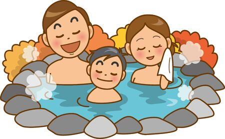 Image illustration of the family in the hot spring (open-air bath) (autumn)