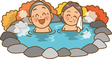 Image illustration of an old couple in a hot spring (open-air bath) (autumn)