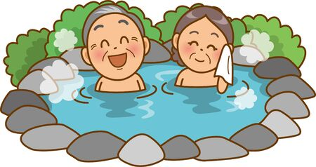 Image illustration of an old couple in a hot spring (open-air bath)
