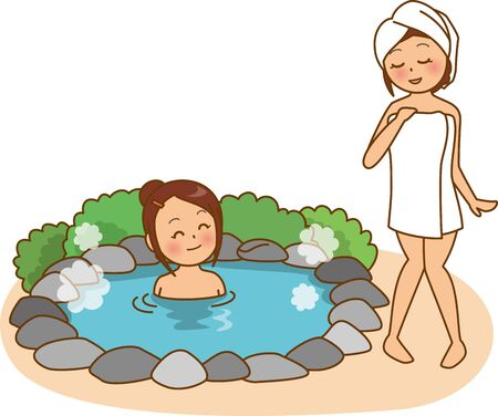 Image illustration of a woman in a hot spring (open-air bath)  イラスト・ベクター素材