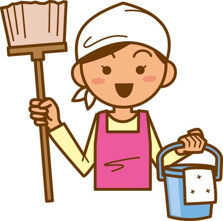Housewife. Upper body. Image illustration of cleaning