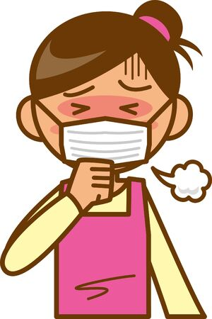 Housewife. Upper body. Image illustration of having a cold