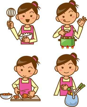 Housewife. Upper body. Image illustration set to cook 向量圖像