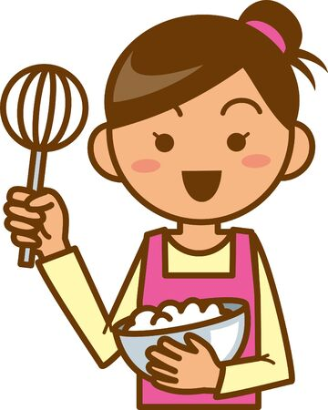 Housewife. Upper body. Image illustration of the dish