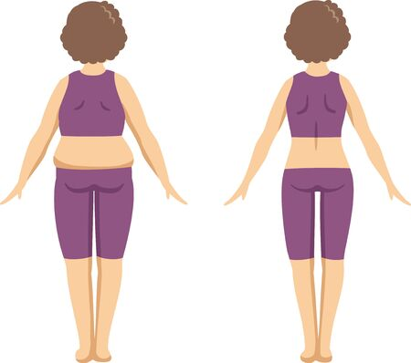 Image illustration (before after) back figure of an elderly woman who went on a diet.