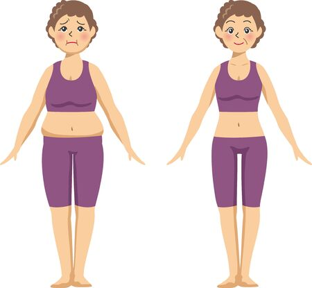 Image illustration (before after) front of an elderly woman who went on a diet.