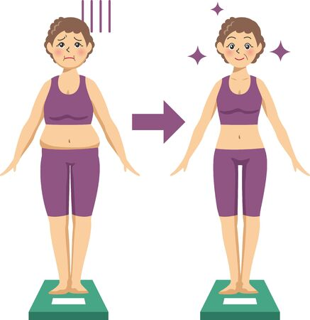 Image illustration of an elderly woman on a diet and riding a scale (Before After) Stok Fotoğraf - 138337959