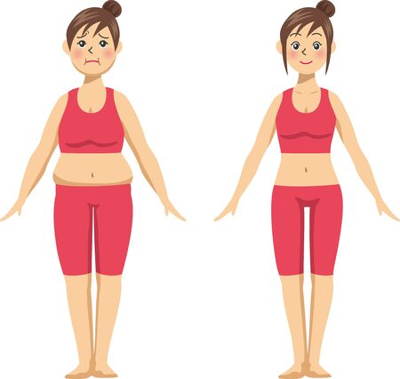 Image illustration (before after) front of a young woman who went on a diet.