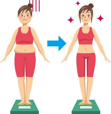 Image illustration d'une jeune femme au régime et chevauchant une balance (Avant Après)