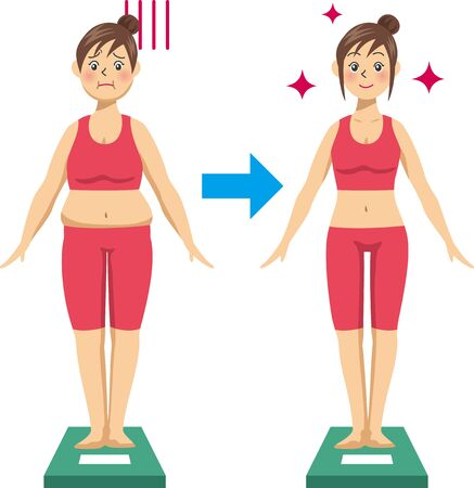 Image illustration of a young woman on a diet and riding a scale (Before After)  イラスト・ベクター素材
