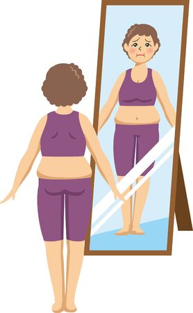Image illustration of an elderly woman checking in front of a mirror (Before)
