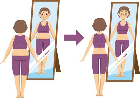 Image illustration of an elderly woman who is on a diet and is checking in front of a mirror (Before After)  イラスト・ベクター素材