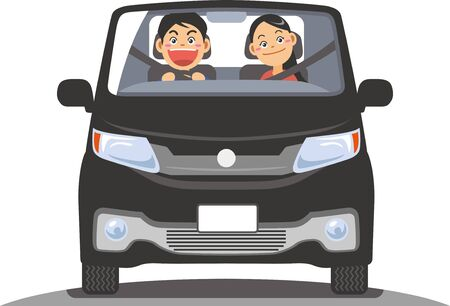 Image illustration of a couple driving