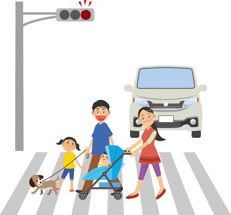 Image of a family crossing a pedestrian crossing