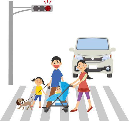 Immagine di una famiglia che attraversa un passaggio pedonale