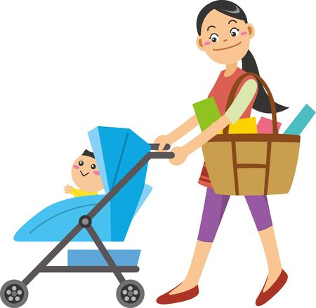 Image illustration of mother pushing stroller after shopping
