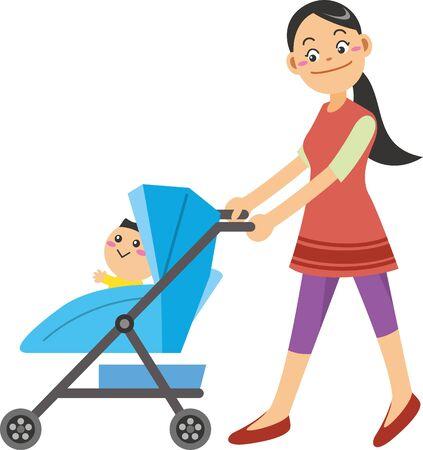 Image illustration of mother pushing stroller
