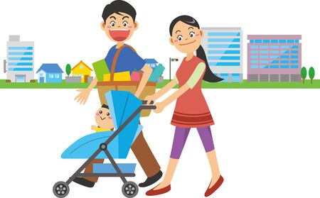 Image illustration of a family walking around town after shopping