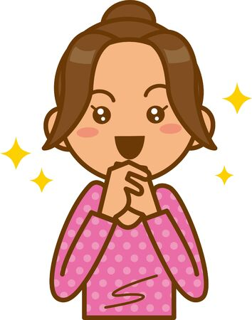 Image illustration of a woman who is impressed  イラスト・ベクター素材