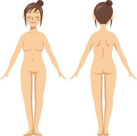 Piękno. Ilustracja nagiego obrazu kobiety