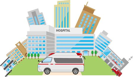Image illustration of the townscape and ambulance around the hospital Çizim