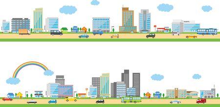 Image illustration of the city. Horizontal Çizim