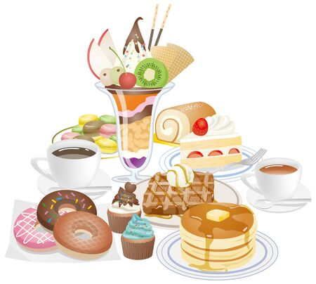 Image illustration with a lot of sweets