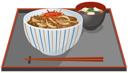 Image illustration of beef bowl and miso soup