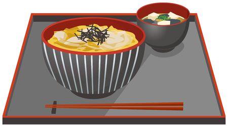 Image illustration of katsudon and miso soup Vektorové ilustrace
