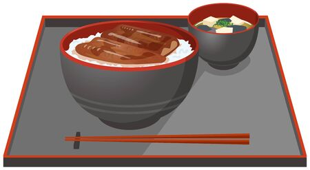 Image illustration of salmon and miso soup