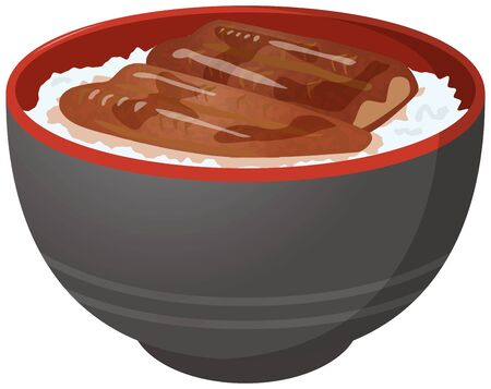 Image illustration of unagi rice Illustration