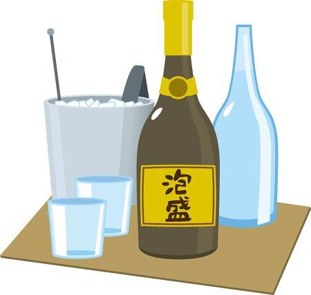 Awamori Bottle, Water, Ice, Glass Image Illustration Set
