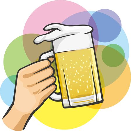 Image illustration of toasting with beer that is poured full of mugs Иллюстрация