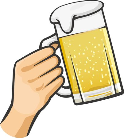 Image illustration of toasting with beer that is poured full of mugs  イラスト・ベクター素材