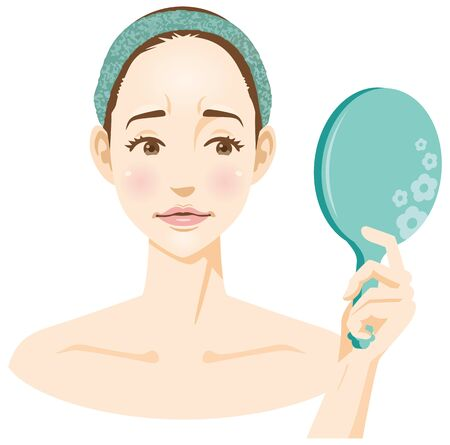 Image illustration of a woman looking in the mirror and looking at a disgruntled face (beauty)