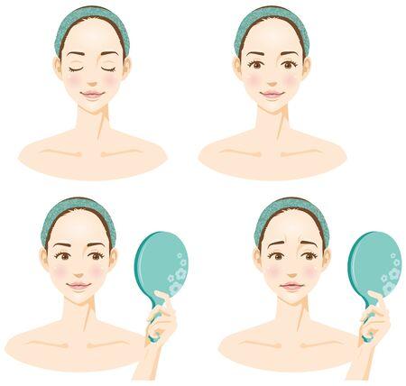 Image illustration set of womens faces (beauty)