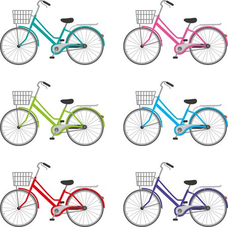 A bicycle with a basket. Color variations