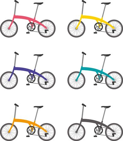 Folding bicycle. Color variations Stock Illustratie