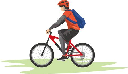 Image illustration of a man driving a mountain bike