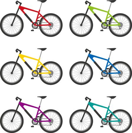 Mountain biking. Color variations