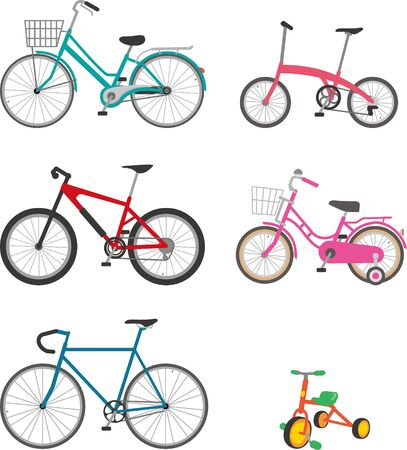 Image illustrations of various bicycles  イラスト・ベクター素材