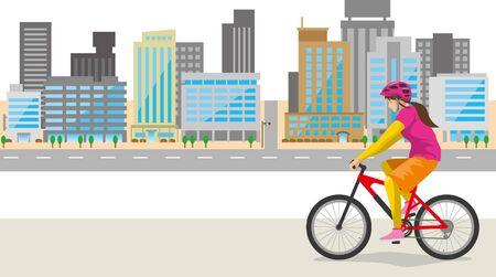 Image illustration cycling around town (woman)  イラスト・ベクター素材